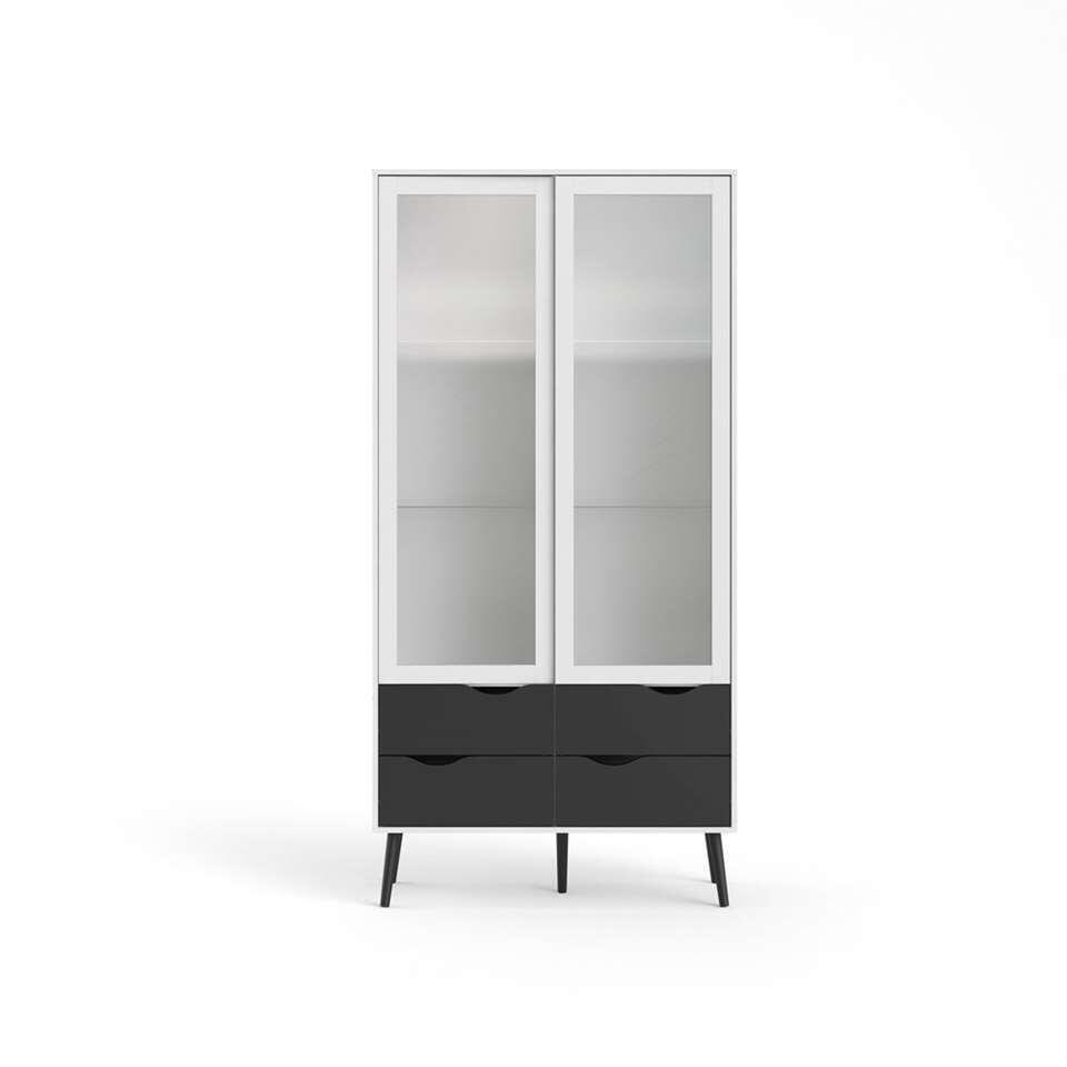 Buffetkast Delta - wit/mat zwart - 200,1x98,7x39,1 cm