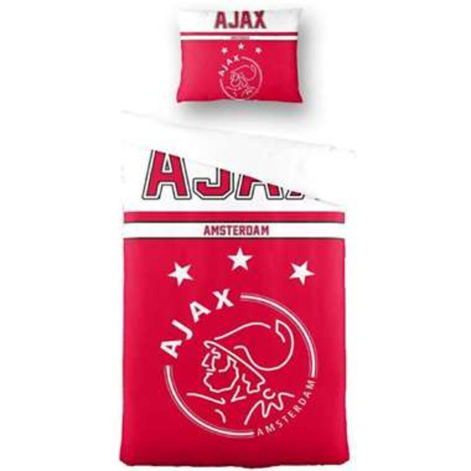 Dekbedovertrek Ajax - rood/wit - 140x200 cm - Leen Bakker