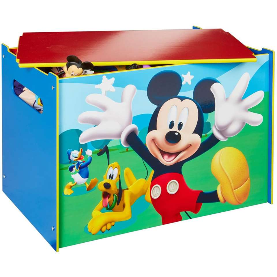 Speelgoedkist Disney Mickey Mouse - blauw/rood - 60x40x40 cm - Leen Bakker
