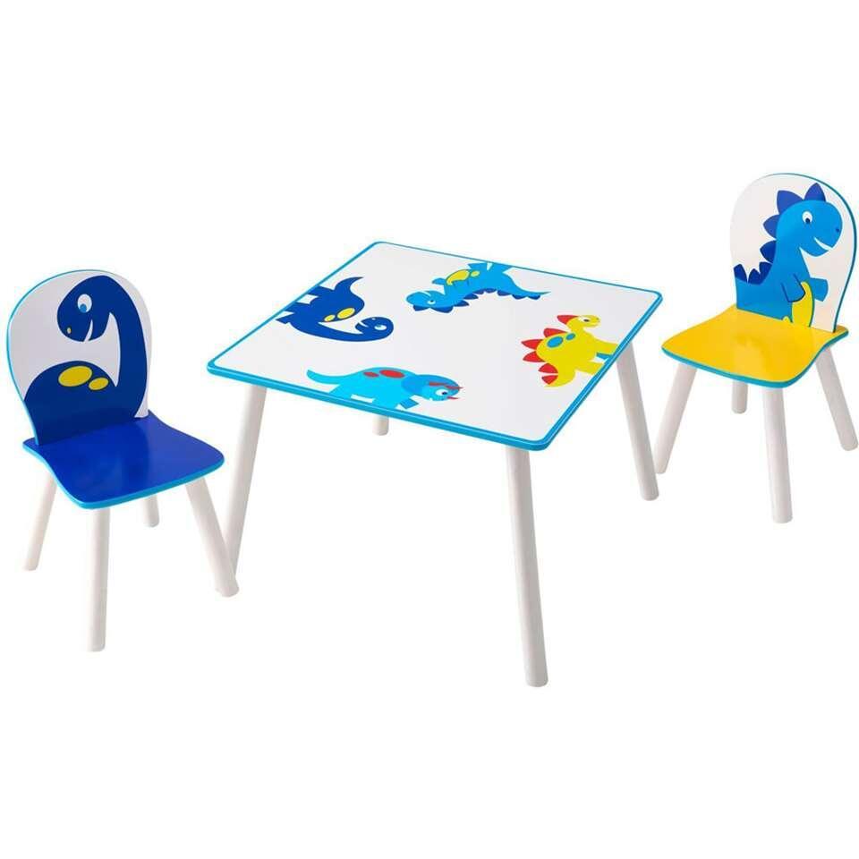 Tafel met stoeltjes Dinosaurus - wit/blauw - Leen Bakker