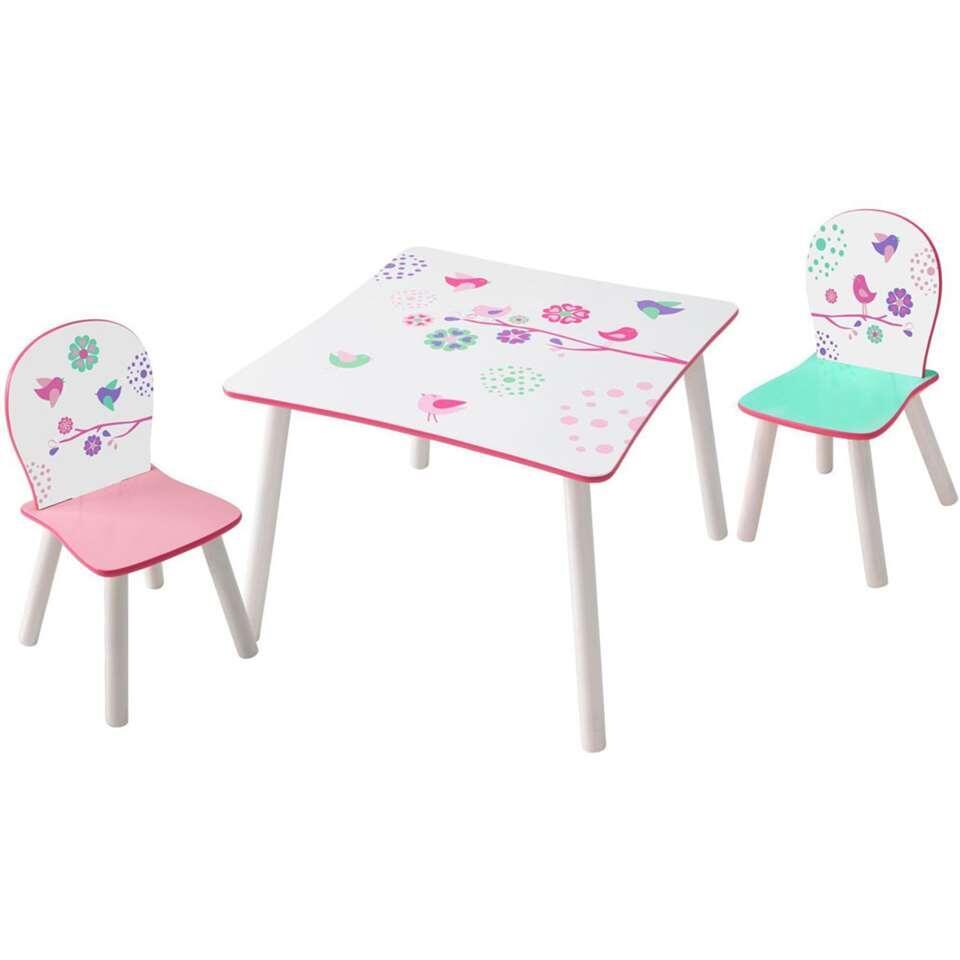 Tafel met stoeltjes Vogel - wit/roze - Leen Bakker