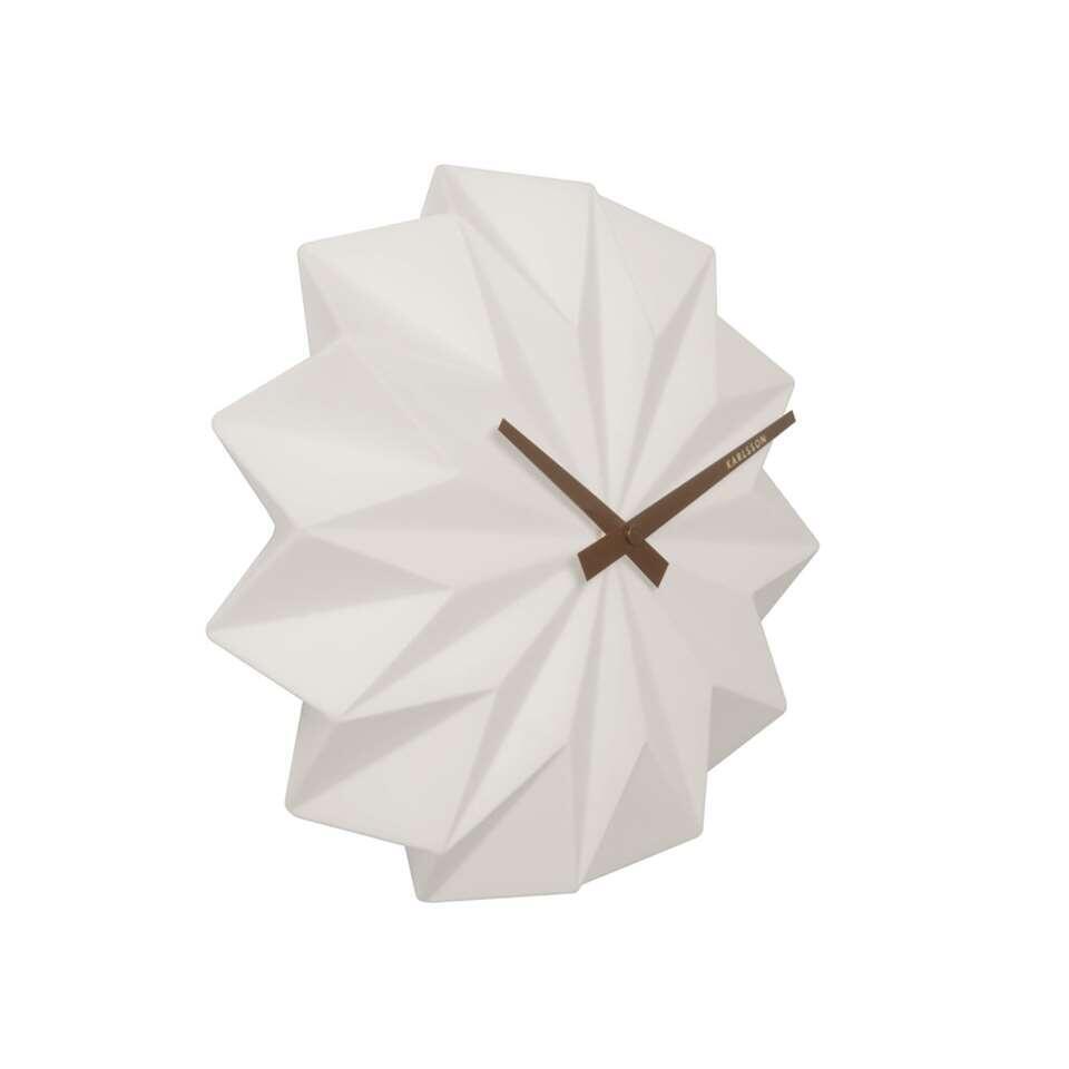Karlsson wandklok Origami – mat wit – 27x27x6 cm – Leen Bakker