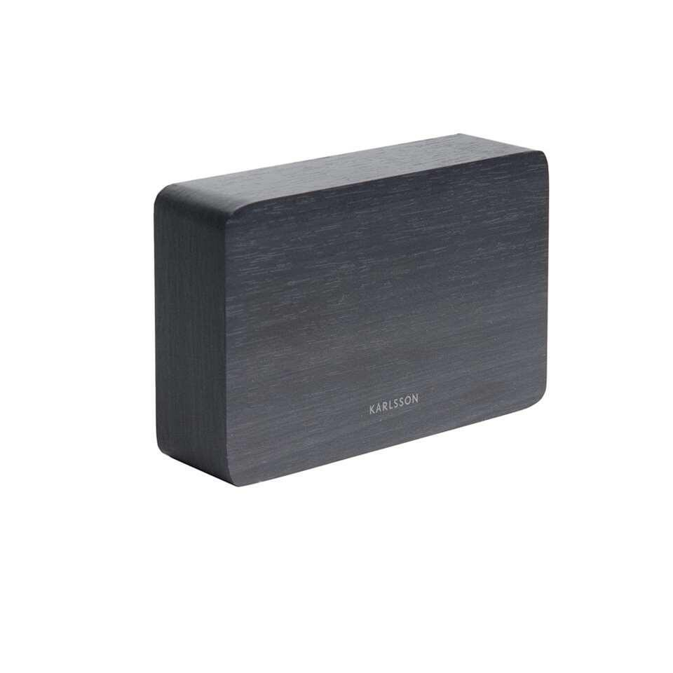 Karlsson alarmklok Square black - wit LED - Leen Bakker