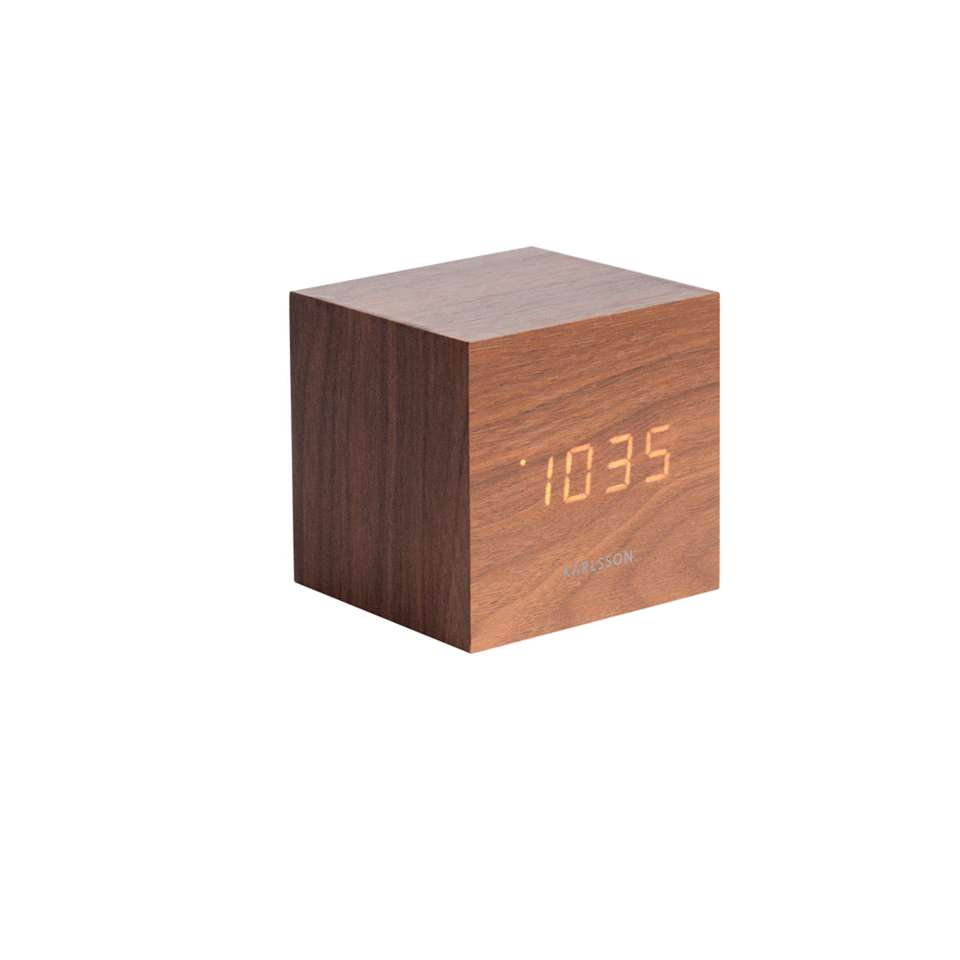 Karlsson alarmklok Cube dark wood – wit LED – Leen Bakker