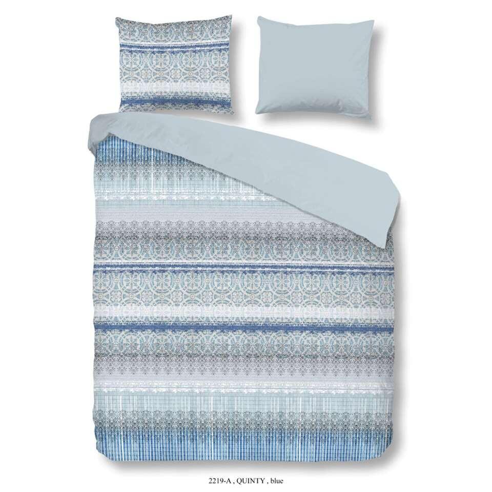 Good Morning dekbedovertrek Quinty - blauw - 200x200/220 cm - Leen Bakker