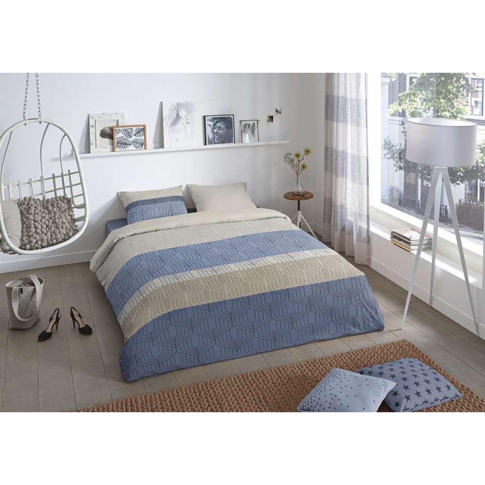 Good Morning dekbedovertrek Valence - blauw - 200x200/220 cm - Leen Bakker