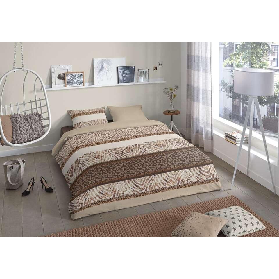 Good Morning dekbedovertrek Safari - taupe - 200x200/220 cm - Leen Bakker