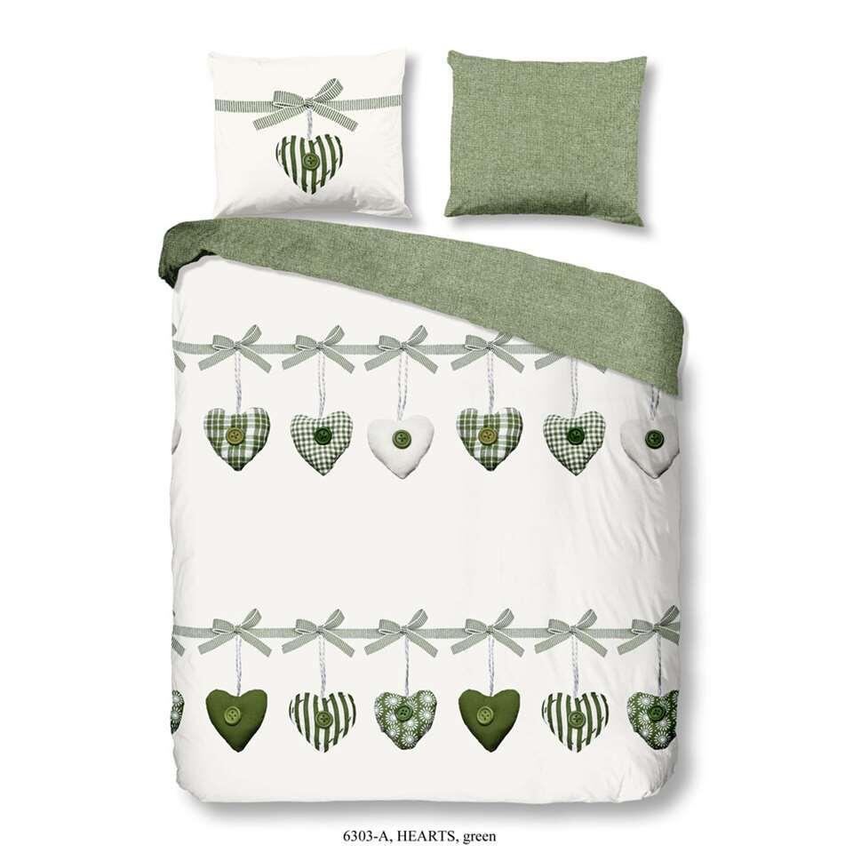 Good Morning dekbedovertrek Hearts - groen - 200x200/220 cm - Leen Bakker