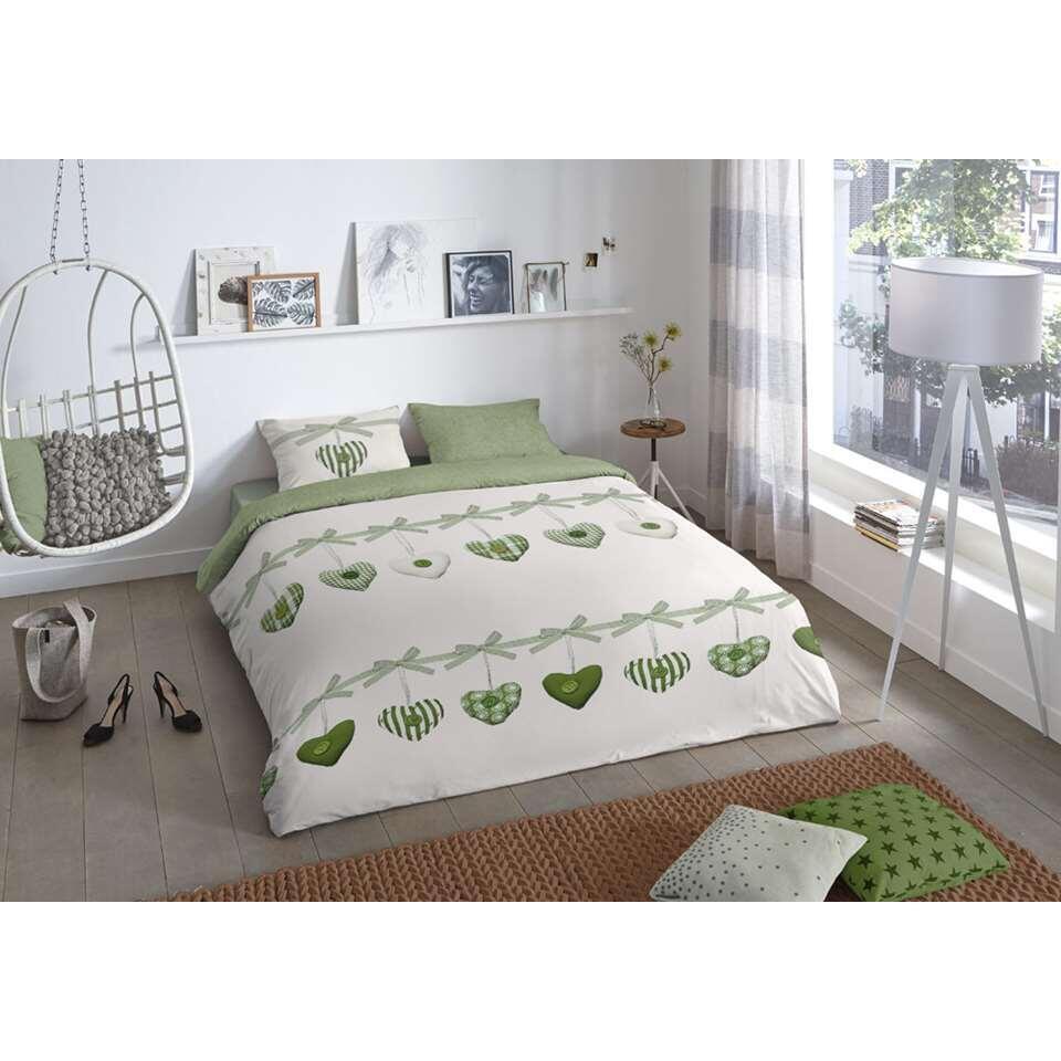Good Morning dekbedovertrek Hearts - groen - 240x200/220 cm - Leen Bakker