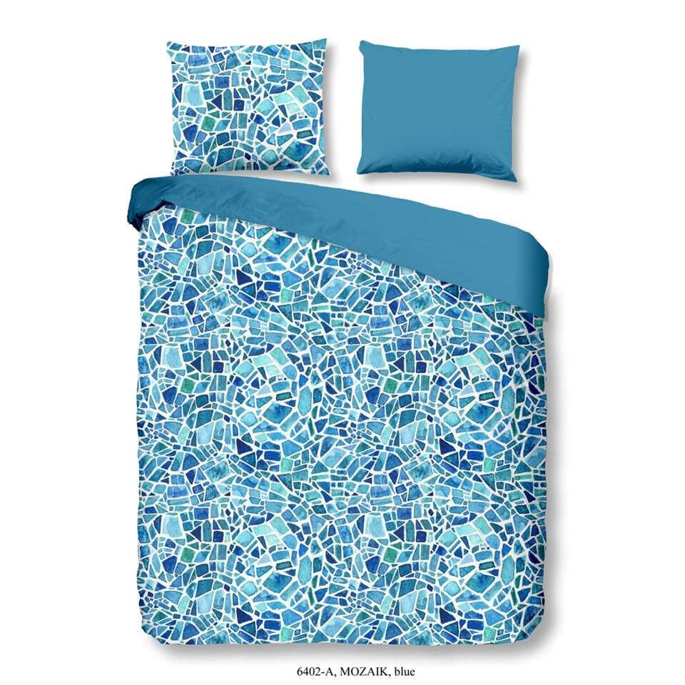 Good Morning dekbedovertrek Mozaik - blauw - 200x200/220 cm - Leen Bakker