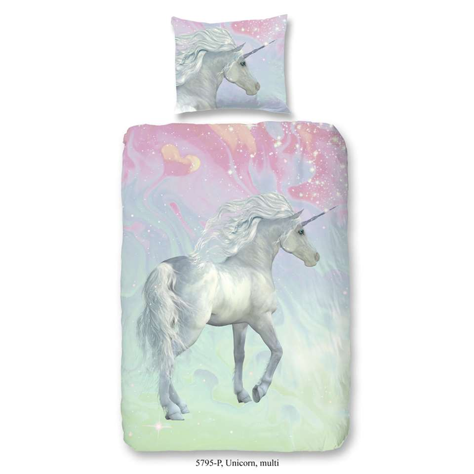 Good Morning kinderdekbedovertrek Unicorn - multikleur - 140x200/220 cm - Leen Bakker