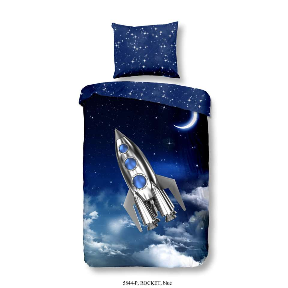 Good Morning kinderdekbedovertrek Rocket - blauw - 140x200/220 cm