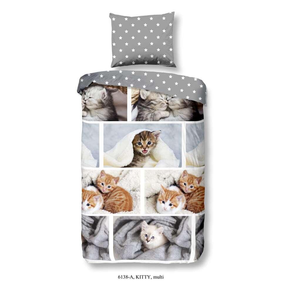 Good Morning kinderdekbedovertrek Kitty - multikleur - 140x200/220 cm - Leen Bakker