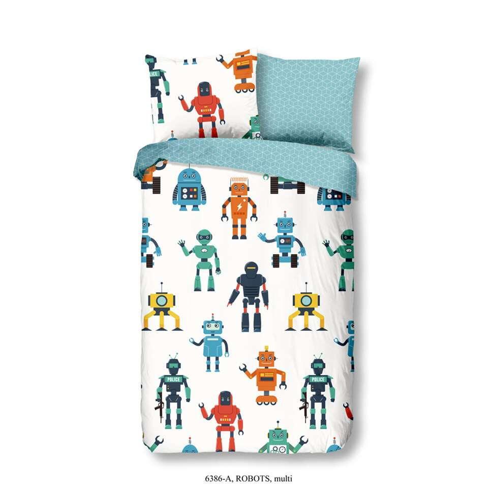 Good Morning kinderdekbedovertrek Robots - multikleur - 140x200/220 cm