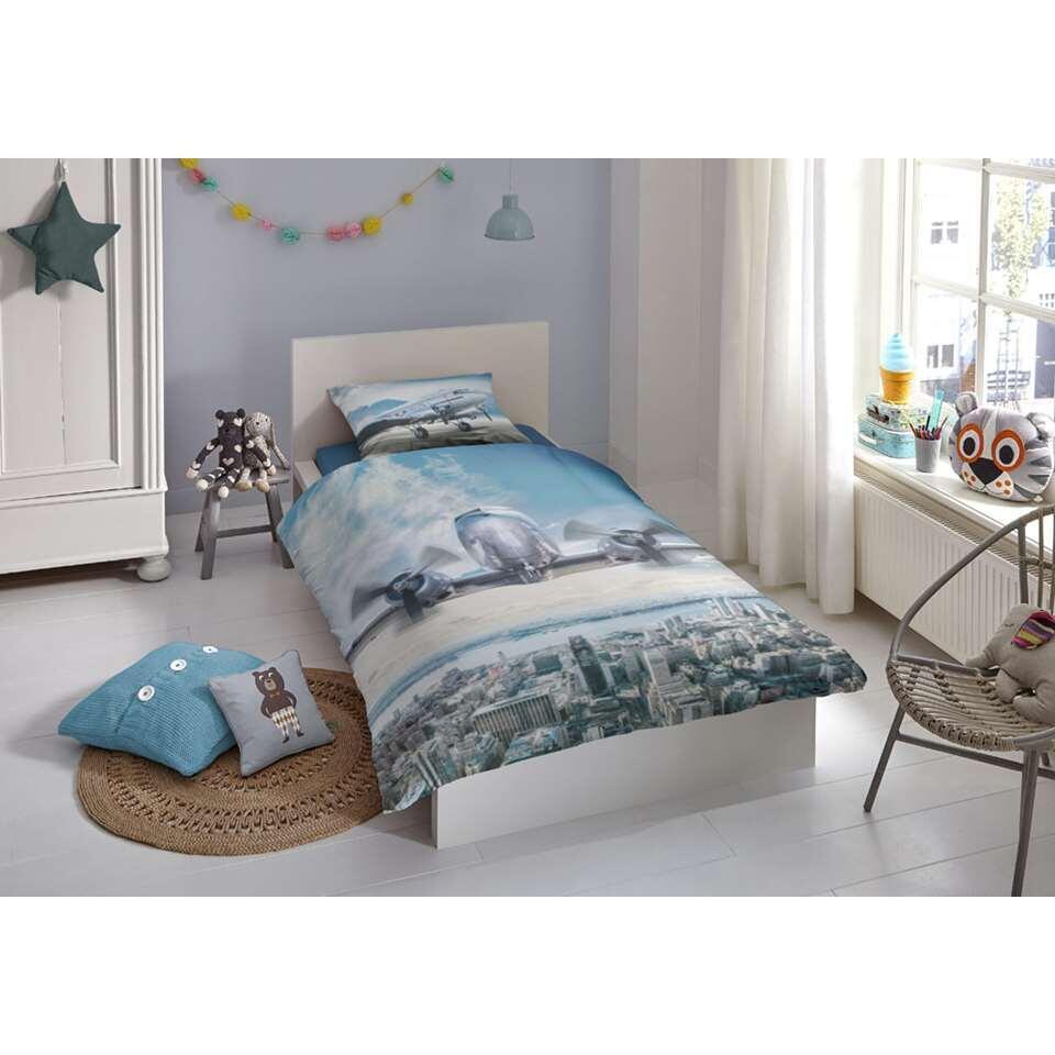 Good Morning kinderdekbedovertrek Airplane - multikleur - 140x200/220 cm - Leen Bakker
