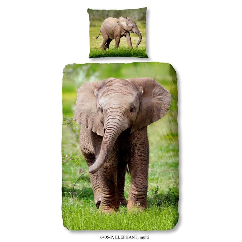 Good Morning kinderdekbedovertrek Elephant - multikleur - 140x200/220 cm - Leen Bakker