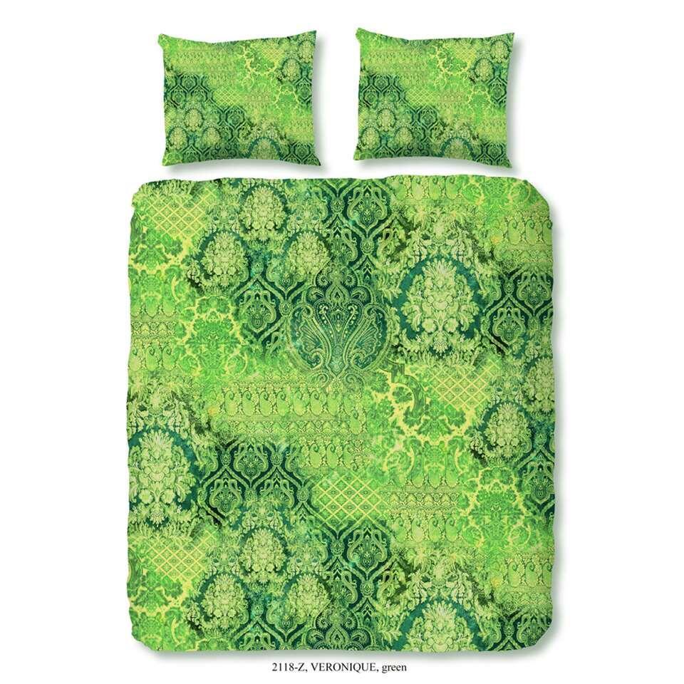 ZouZou dekbedovertrek Veronique - groen - 200x200/220 cm - Leen Bakker