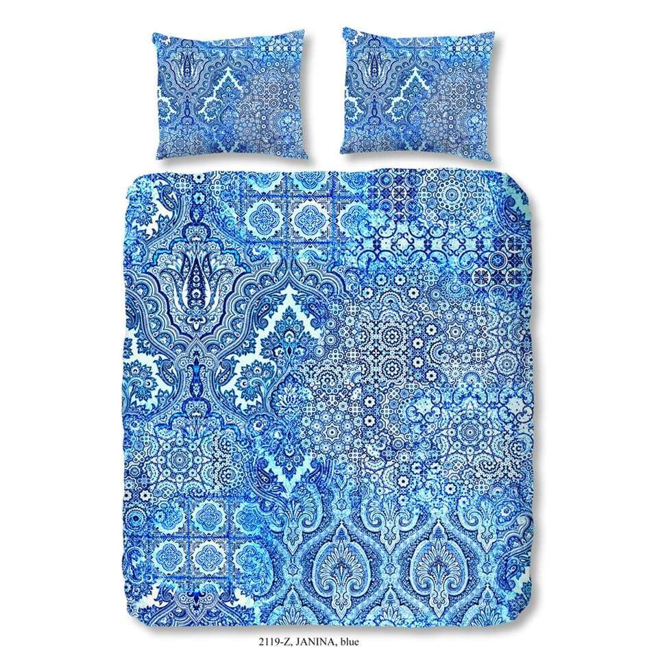 ZouZou dekbedovertrek Janina - blauw - 200x200/220 cm - Leen Bakker