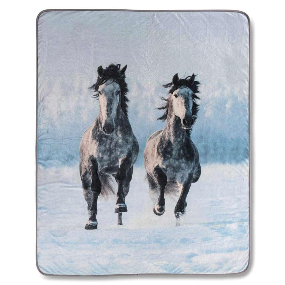 Good Morning plaid Snowhorses - grijs - 130x160 cm