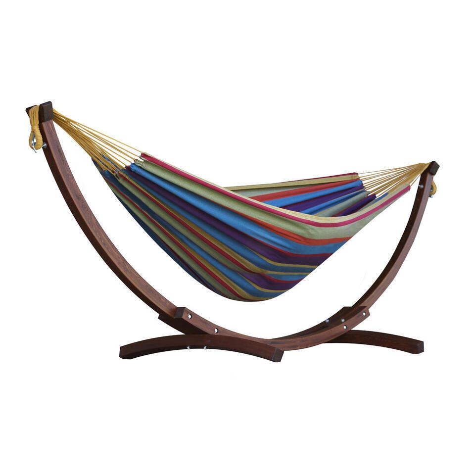 Vivere hangmat Combo (incl. houtstandaard) - 2-persoons - tropical - Leen Bakker