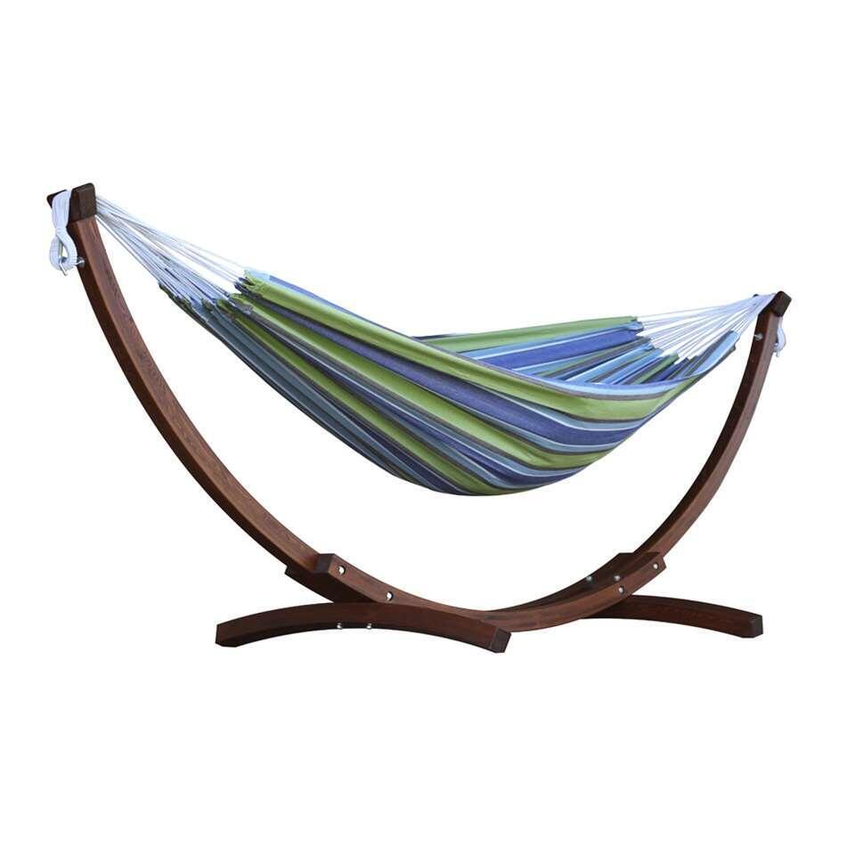 Vivere hangmat Combo (incl. houtstandaard) - 2-persoons - oasis - Leen Bakker