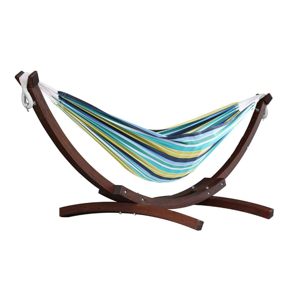 Vivere hangmat Combo (incl. houtstandaard) – 2-persoons – cayo reef – Leen Bakker