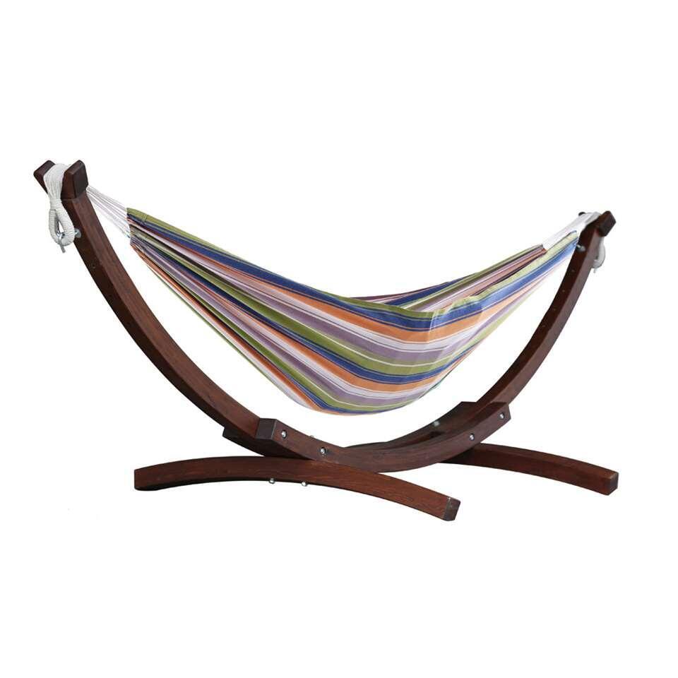 Vivere hangmat Combo (incl. houtstandaard) - 2-persoons - retro - Leen Bakker