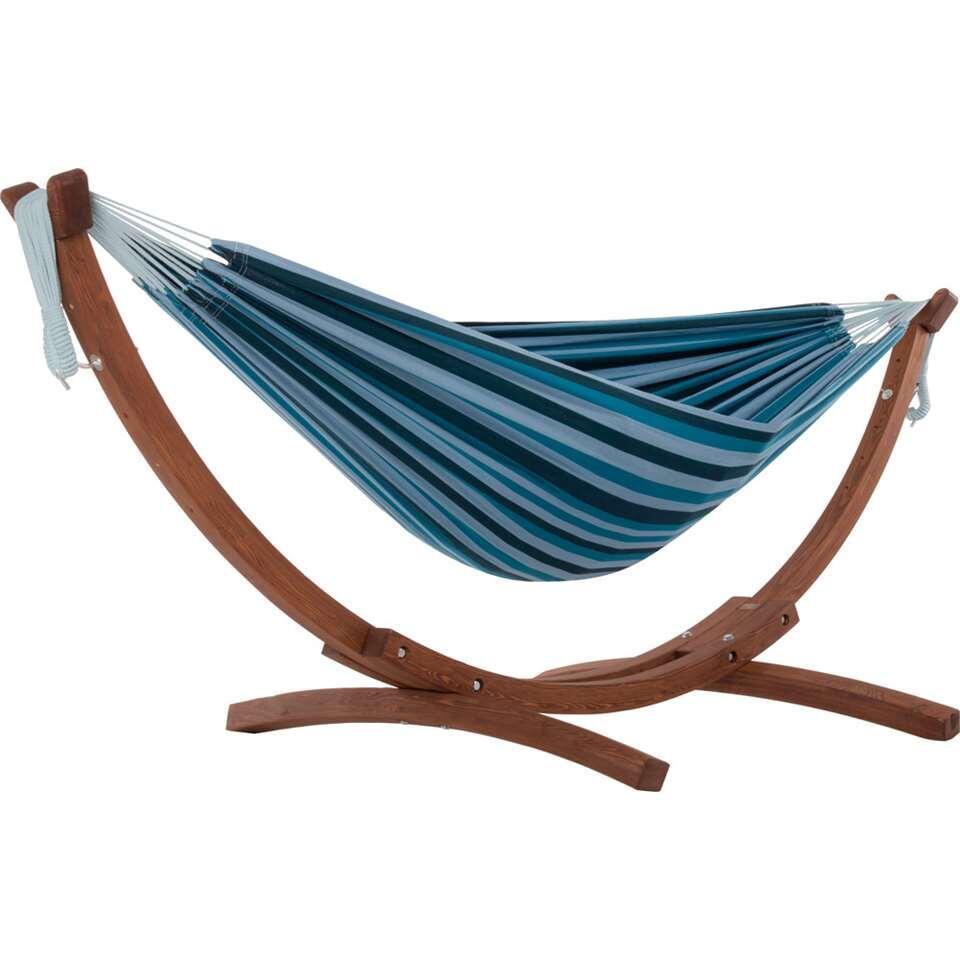 Vivere hangmat Combo (incl. houtstandaard) - 2-persoons - blue lagoon - Leen Bakker