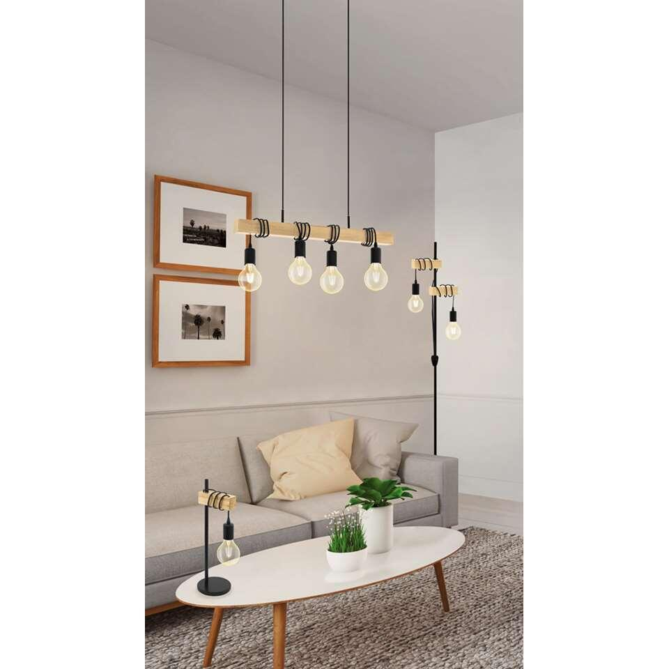 EGLO hanglamp Townshend 4-lichts – eikenhout/zwart – Leen Bakker