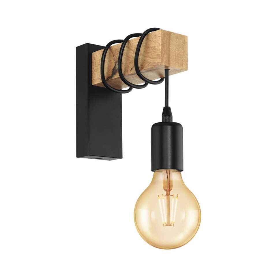 EGLO wandlamp Townshend – eikenhout/zwart – Leen Bakker