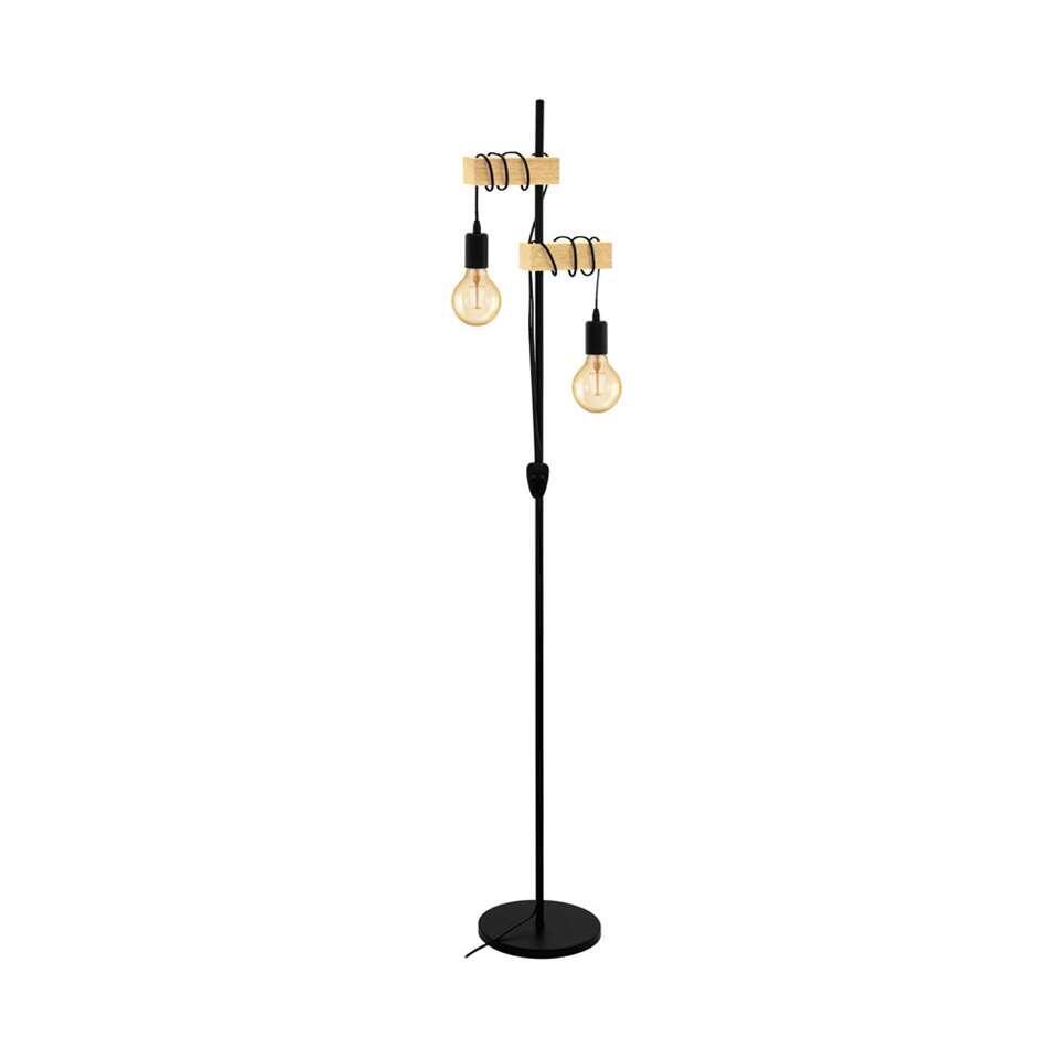 EGLO vloerlamp Townshend 2-lichts - eikenhout/zwart
