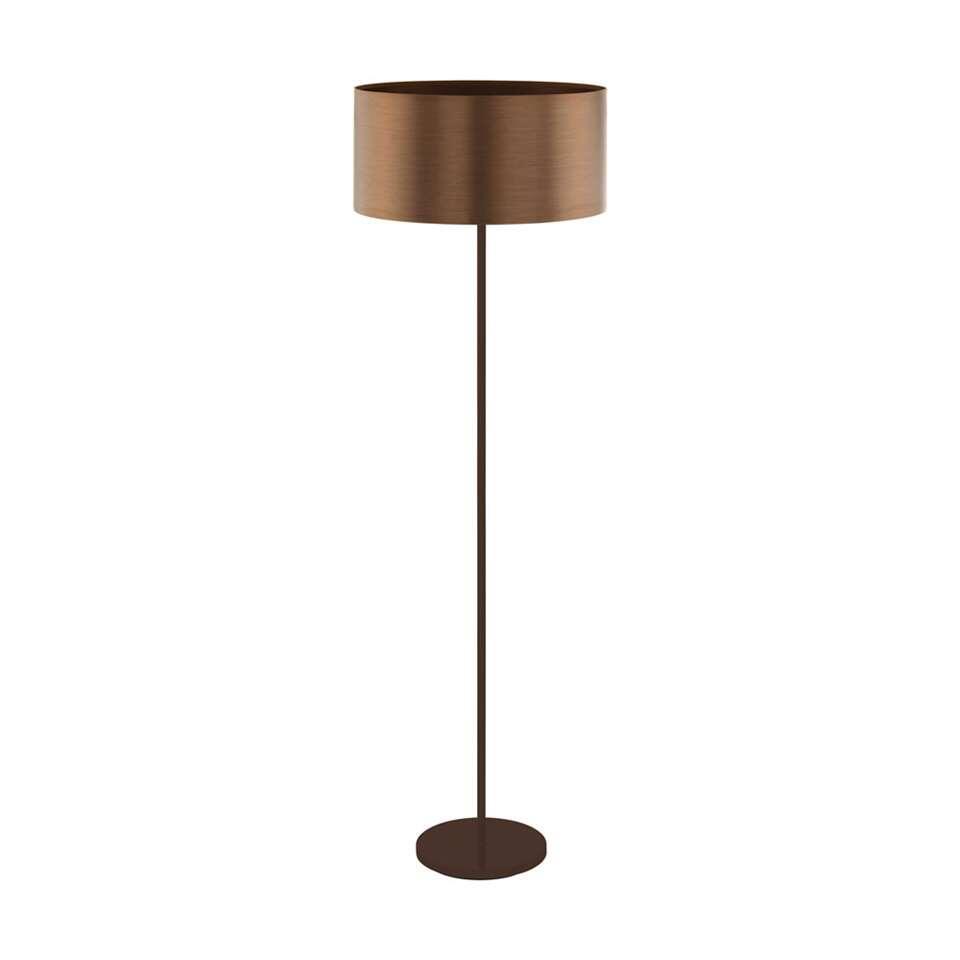 EGLO vloerlamp Saganto – bruin/koperkleur – Leen Bakker