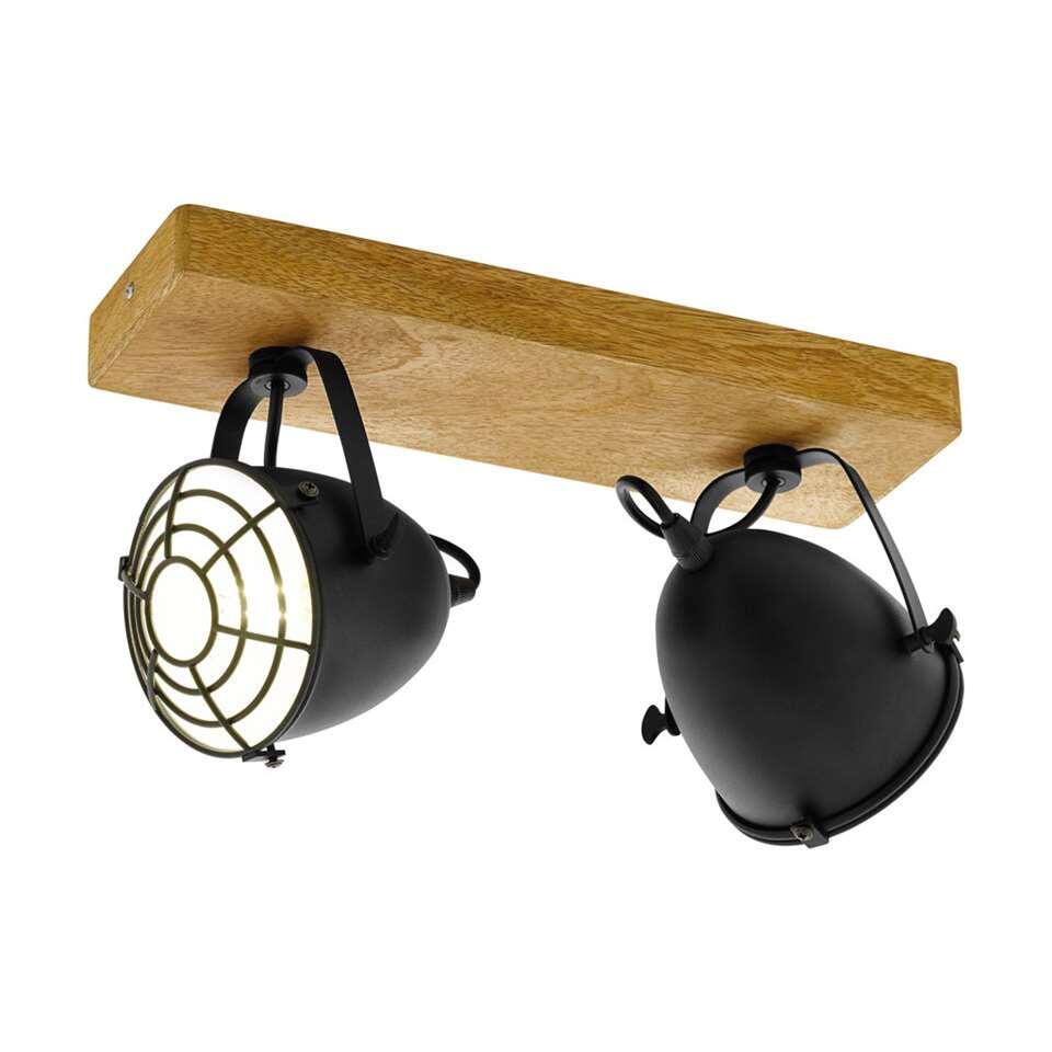 EGLO 2-spot Gateback – hout/zwart – Leen Bakker