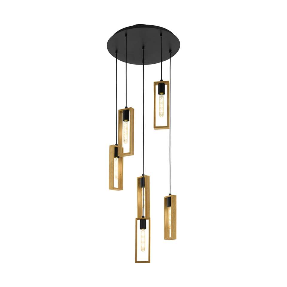EGLO hanglamp Littleton 6-lichts - zwart/hout - Leen Bakker