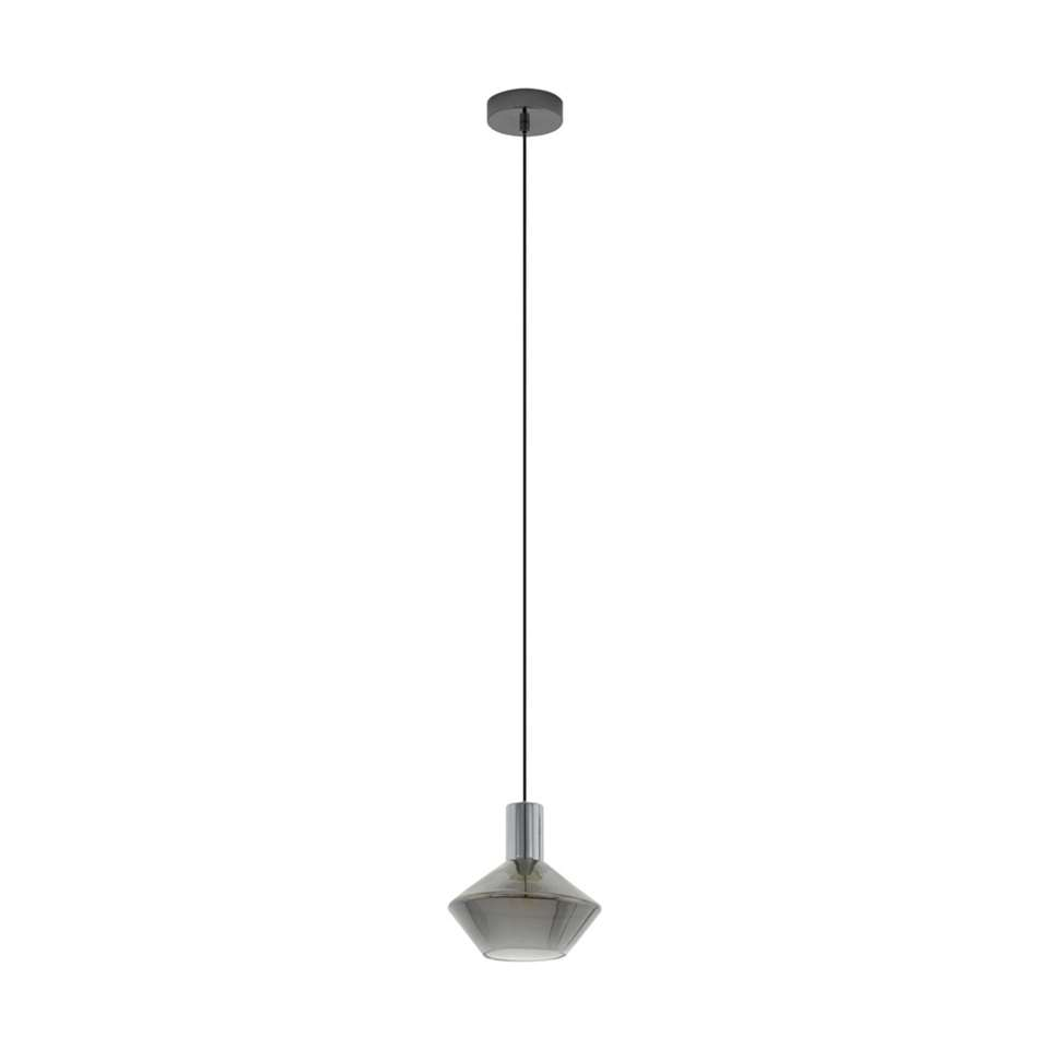 EGLO hanglamp Ponzano - nikkel-nero/zwart-transparant - Leen Bakker