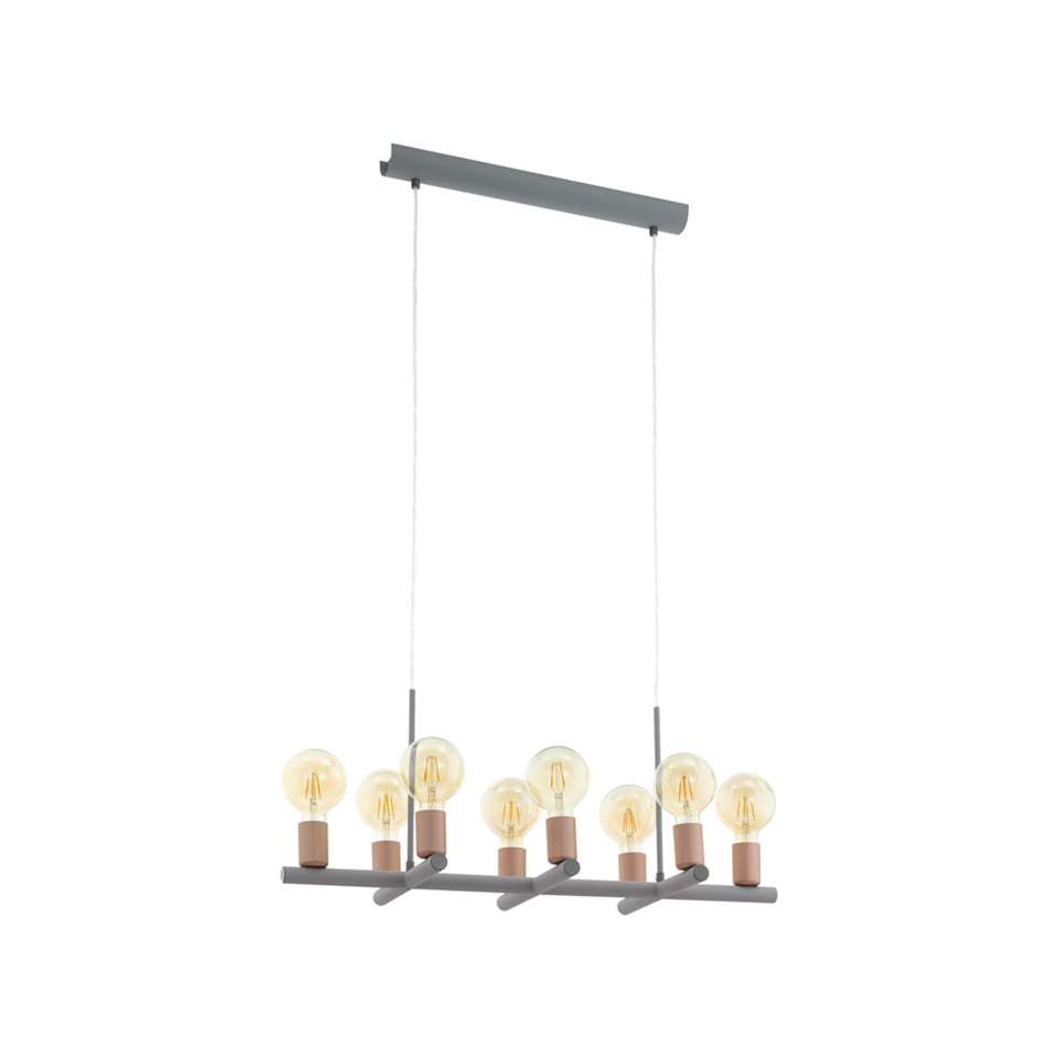 EGLO hanglamp Adri 1 8-lichts - grijs/roségoud