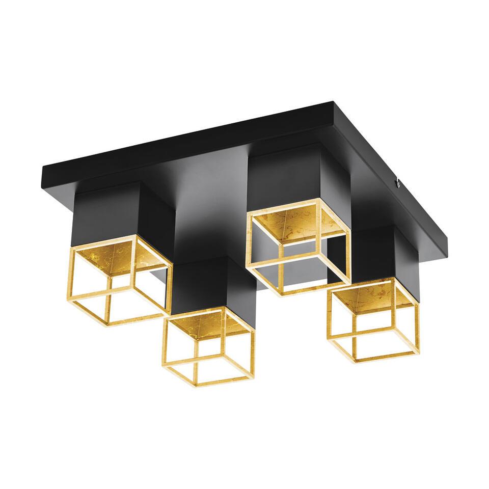 EGLO plafondlamp Montebaldo 4-lichts - zwart/goud