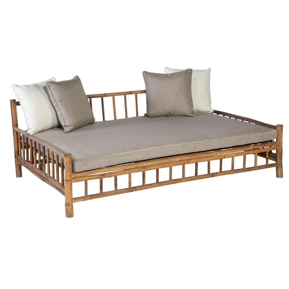 Exotan bamboe daybed (incl. kussens) - bruin/beige - 201x132x70 cm - Leen Bakker
