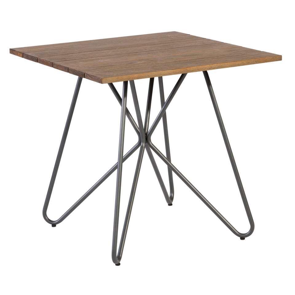 Exotan vierkante tafel Slimm - bruin/antraciet - 80x80x75 cm - Leen Bakker