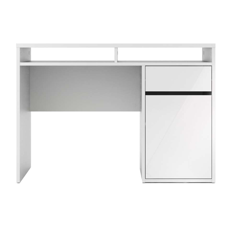 Bureau Function Plus – hoogglans wit – 77,4×110,2×48,2 cm – Leen Bakker