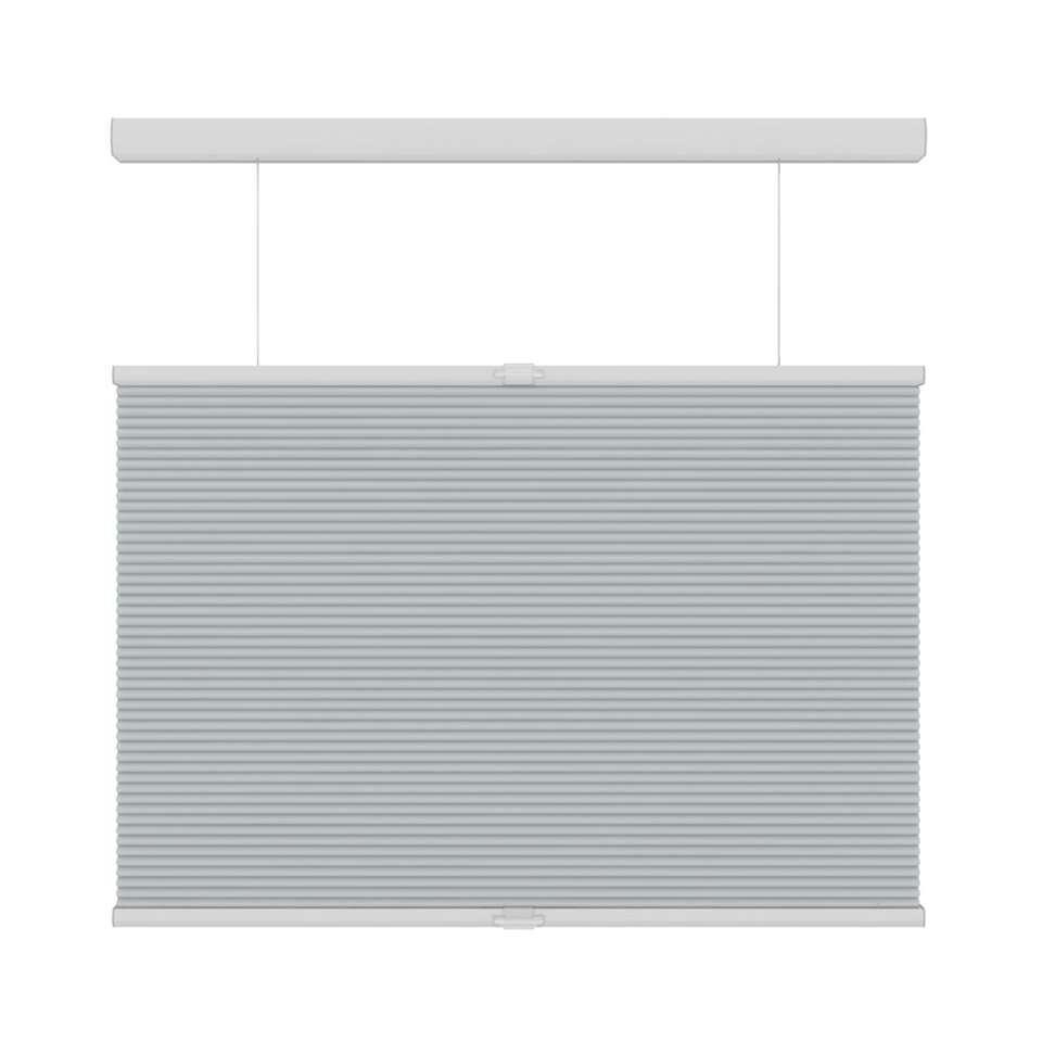 Plisségordijn duplistof koordloos lichtdoorlatend top-down-bottom-up - lichtgrijs - 60x180 cm