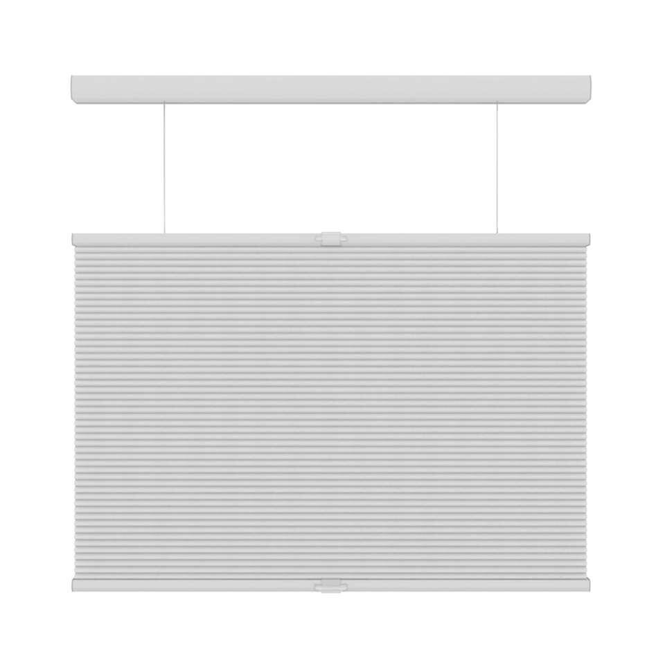 Plisségordijn duplistof koordloos lichtdoorlatend top-down-bottom-up - wit - 180x180 cm