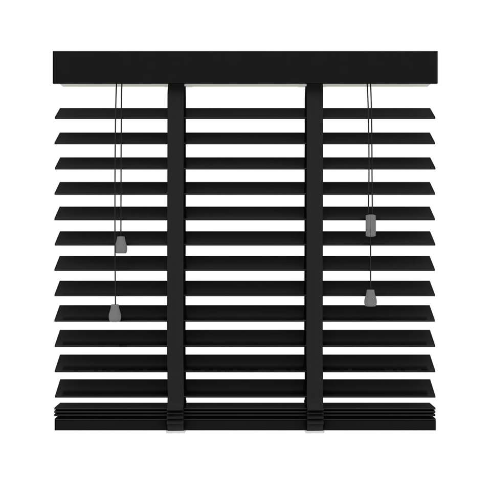 Jaloezie hout 50 mm - mat zwart - 80x180 cm