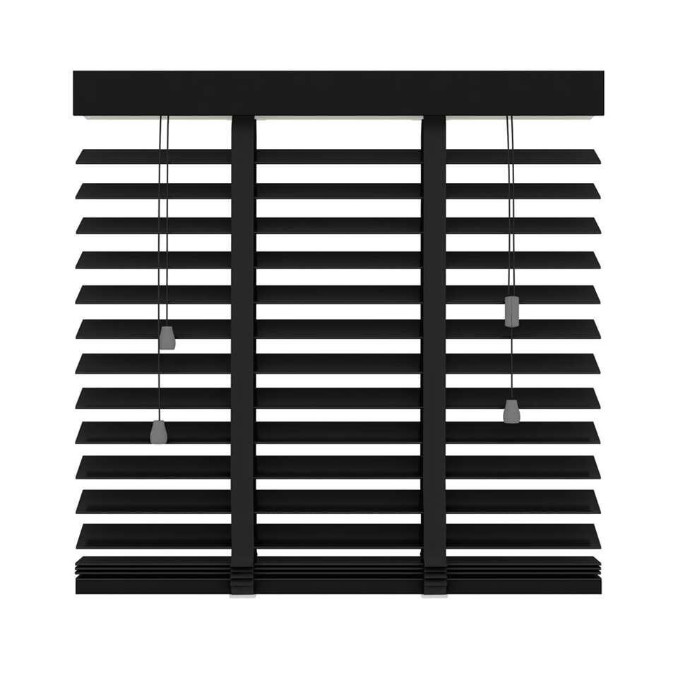 Horizontale jaloezie hout 50 mm - mat zwart - 160x180 cm - Leen Bakker