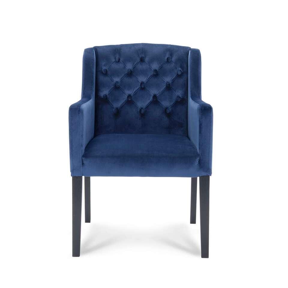 Eetkamerstoel Rosetti – velvet – blauw – Leen Bakker
