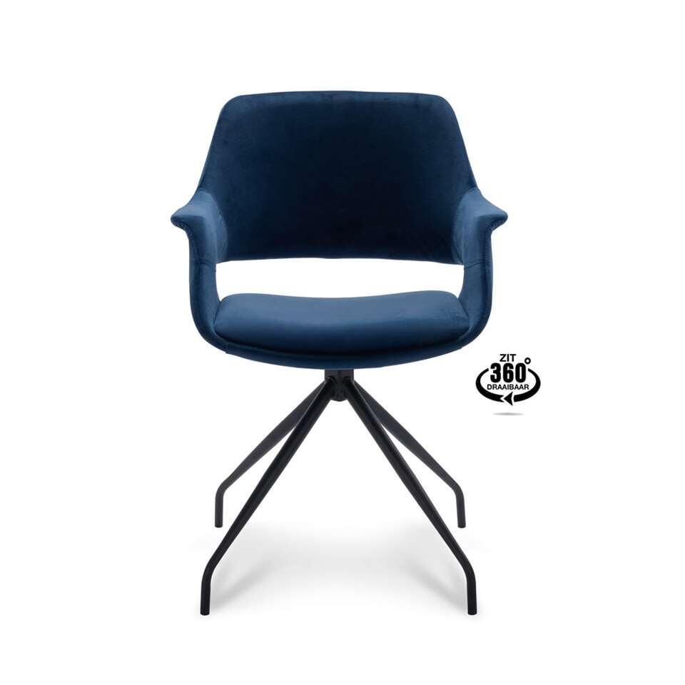 Eetkamerstoel Riccione - velvet - blauw