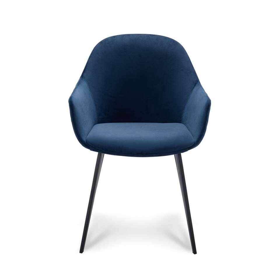 Eetkamerstoel Rouen – velvet – blauw (2 stuks) – Leen Bakker