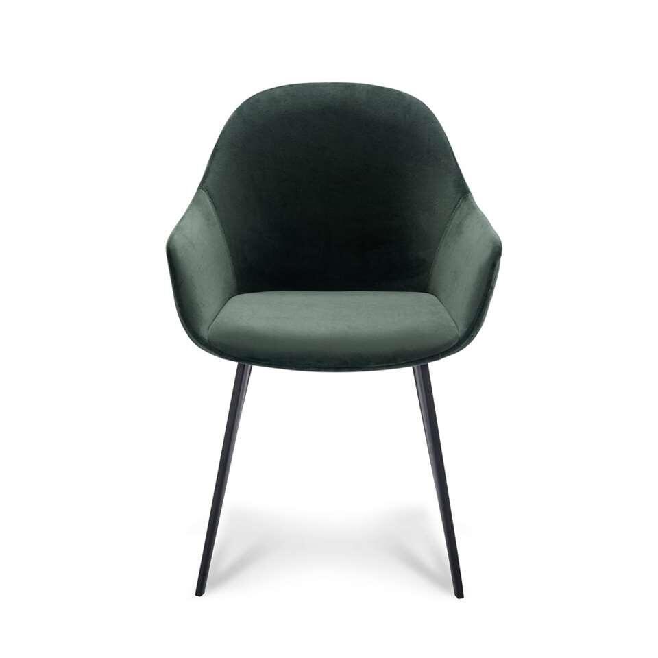 Eetkamerstoel Rouen – velvet – groen (2 stuks) – Leen Bakker