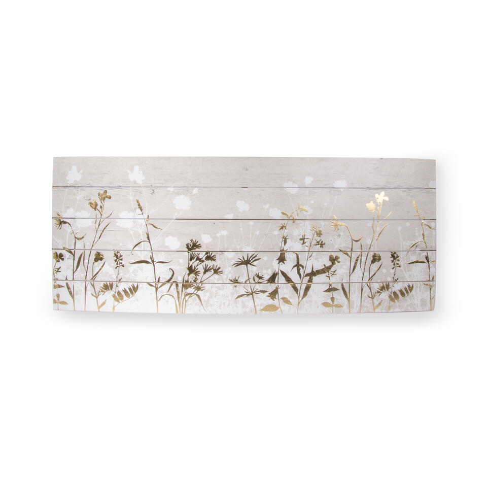 Art For The Home print op hout Botanisch – wit/goud – 100×40 cm – Leen Bakker