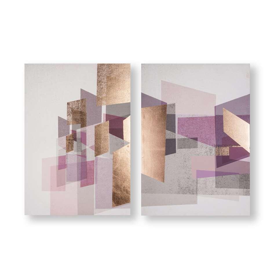 Art For The Home schilderijset Abstract - paars/rosé - 2x 50x70 cm - Leen Bakker
